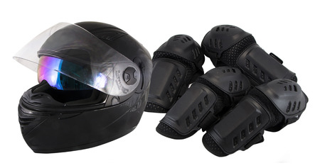 knee pads: protector motorcycle protective gear knee pad riding Elbow Knee Pads and helmet Stock Photo