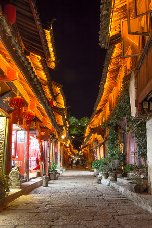desolate: Lijiang ancient, lonely, desolate in night Editorial