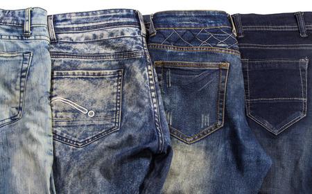 in jeans: Jeans son de color azul de gran detalle, azul oscuro y negro Foto de archivo