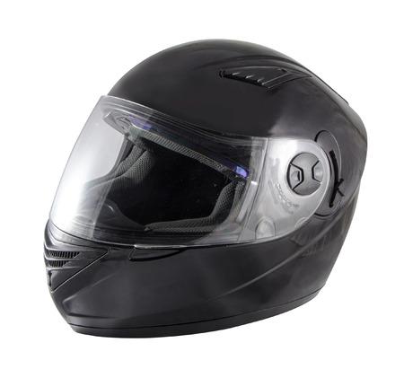 Black motorcycle helmet over white background