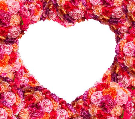 Fresh pink roses frame border isolated on white background photo