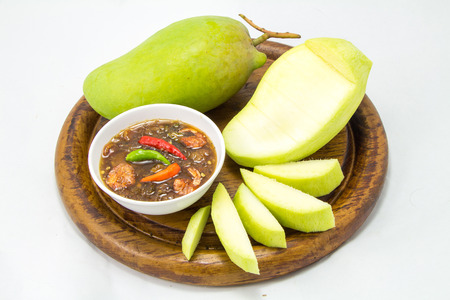 Set of green mangoes with Sweet fish sauce Stock fotó