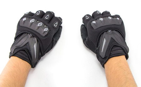 Black Motorcycle gloves isolated on white background photo