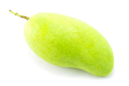 thinness: Fresh Green mango isolated on white Stock Photo