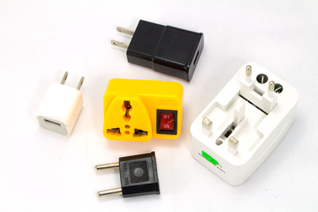 adapters: different universal adapters Travel adapters isolated