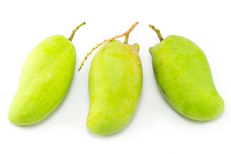 thinness: Fresh Green mango(Rhino Mango) isolated on white