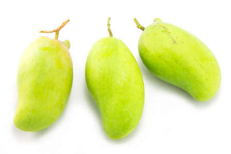 thinness: Fresh Green mango isolated on white Stock Photo