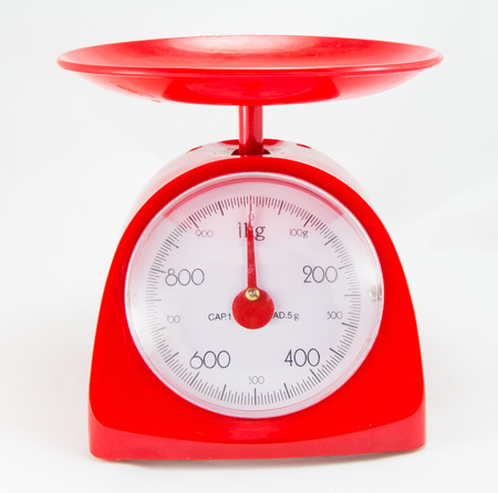 grams: Red Kitchen Scale on white background