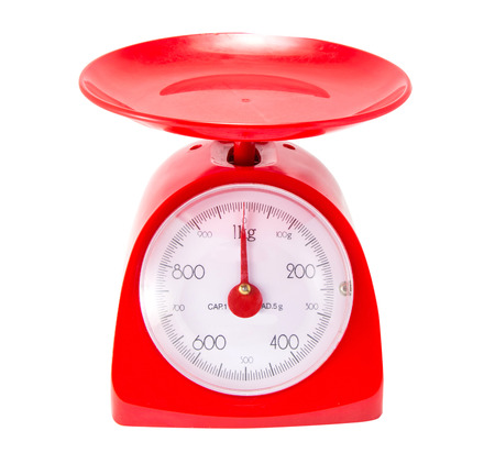 Red Kitchen Scale on white background