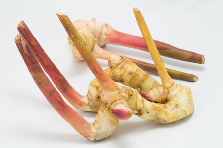 galangal: Asia Galangal (Ginger) on Chopping Block isolated