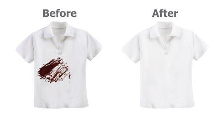 白い背景で隔離の汚れた白シャツ 写真素材
