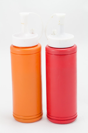 ketchup bottle: Ketchup bottle of Tomato  and Chili on white background