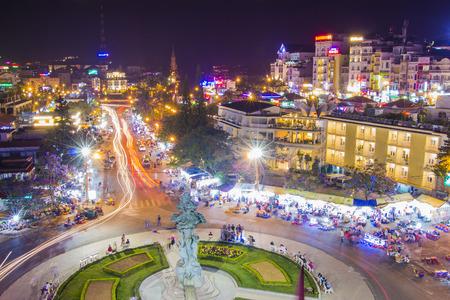 nam: DA LAT CITY, VIETNAM - April 14, 2015: Night light of Center traffic Landmark at Da Lat city, Da Lat is one of the beautiful city in Viet Nam