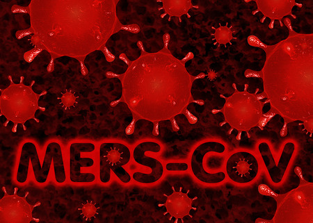 plague: MERS virus Background Red Respiratory syndrome Stock Photo