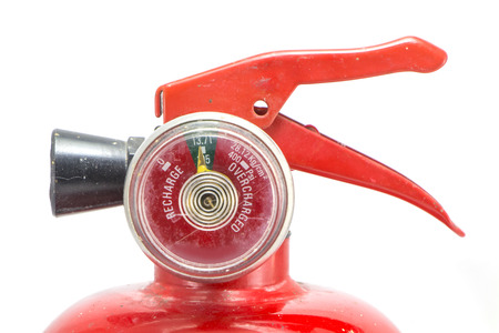 mini red portable fire extinguisher on white background Stock fotó