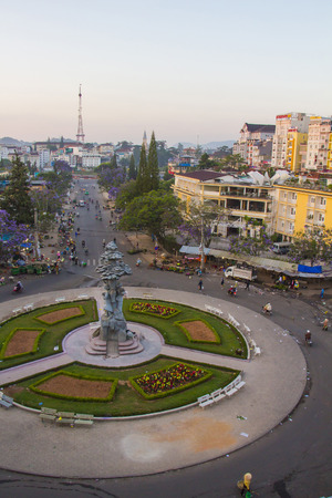 viet nam: DA LAT CITY, VIETNAM - April 14, 2015: Night light of Center traffic Landmark at Da Lat city, Da Lat is one of the beautiful city in Viet Nam