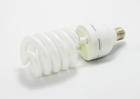 florescent light: bulb spiral isolated on white background  Stock Photo