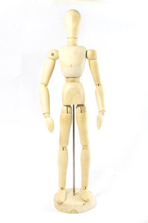 artists dummy: Wooden Human Mini Mannequin Unisex isolated Stock Photo