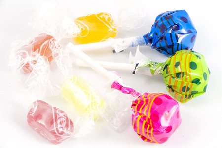 Lollipop Candy Colorful on white background Stock Photo