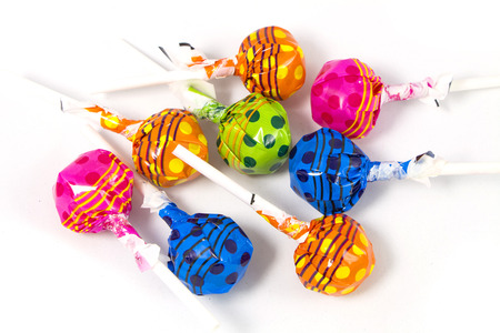 Lollipop Candy Colorful on white background Stock fotó