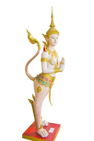 himmapan: Kinnaree angel sculpture in Bangkok national museum Stock Photo