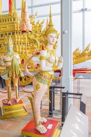 himmapan: Kinnaree angel sculpture in Bangkok national museum Editorial