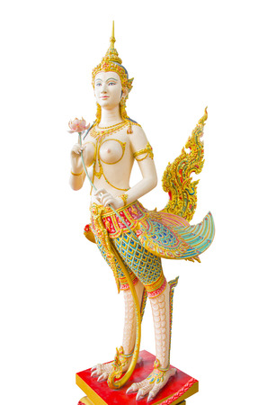 himmapan: Kinnaree angel sculpture isolated with clipping path