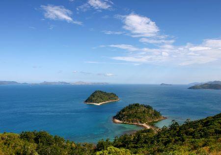 Australia, Whitsundays. South Molle Island. View towards Hamilton Island. Stock Photo