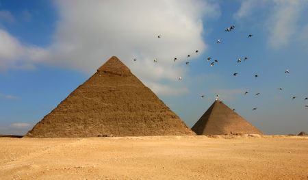 Egypt Giza pyramids with flying birds on the foreground