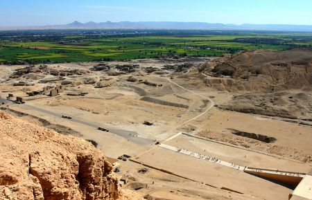 View to Neil Valley from Gurna hills near the valley of kings, Hatshepsuts temple. Wet Bank. Luxor. Egypt Stock Photo