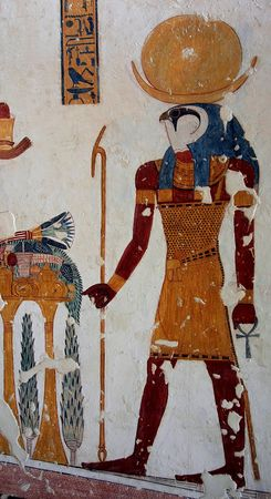 Fresco in one of the tombs in the Valley of King. Egypt.Luxor