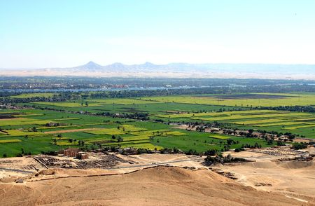 View to Neil Valley from Gurna hills near the valley of kings. Wet Bank. Luxor. Egypt