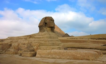 Giza sphinx with pyramids on the background. Cairo. Egypt. photo