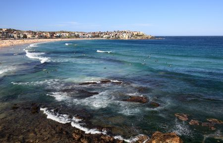 View to Bondi Beach from its southern end. Stock Photo