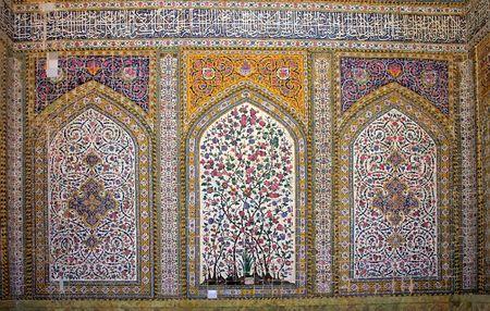 Tiled interior of Regents Mosque, Shiras, Iran