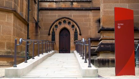 Wheelchair access entrance to st. Mary�s Cathedral in Sydney. Australia