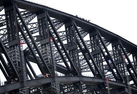 Climbers on Harbour Bridge in Sydney, Australia