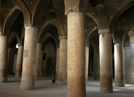 900 years old prayers hall Jameh (Friday) Mosque. Isfahan. Iran photo