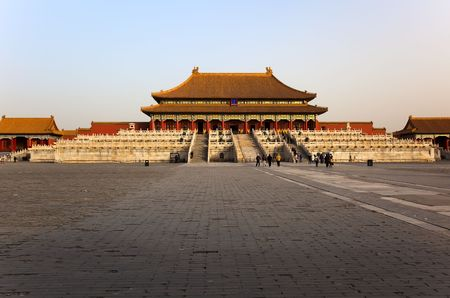 china art: Early winter morning. View from courtyard towards the Three Great Halls Palace. Forbidden City In Beijing, China.