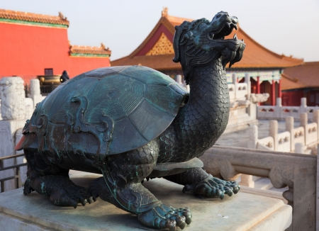 forbidden: Statue of turtle - dragon. Forbidden City. Beijing. China.