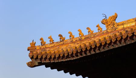 Imperial Roof decorations (charms or roof-figures). Forbidden City. Beijing. China. Stock Photo - 6201965