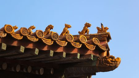 Imperial Roof decorations (charms or roof-figures). Forbidden City. Beijing. China