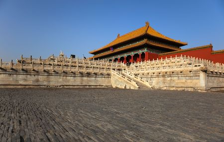 View from right hand side courtyard towards the Three Great Halls Palace. Forbidden City. Beijing. China.
