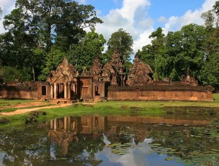 View to Banteay Srei Temple in the Angkor. Siem Reap, Cambodia. Stock Photo