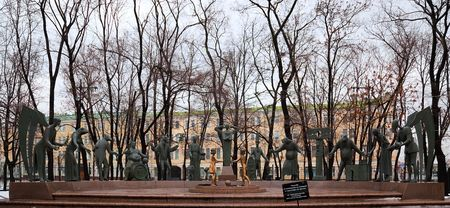 MOSCOW, RUSSIA, 27 DECEMBER, 2009. Mikhail Shemyakins The children - victims of adult vices. The sculptures are of twelve bronze figures, which depict the adult vices, such as alcoholism, drug addiction, prostitution etc,