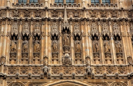 Facade above Sovereigns Entrance. The Houses of Parliament. London. UK. Stock Photo - 7419902