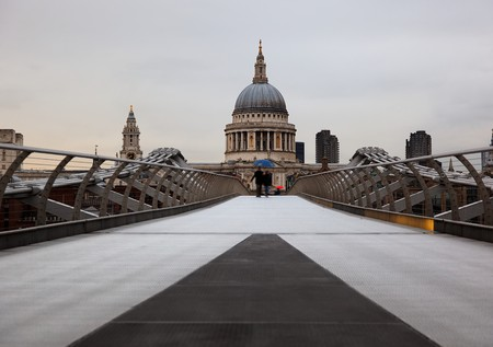 View  to St Pauls from Millenium Bridge. London. UK. Stock Photo - 7406723