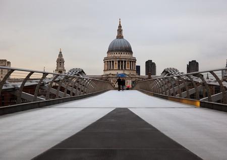 View  to St Pauls from Millenium Bridge. London. UK. photo