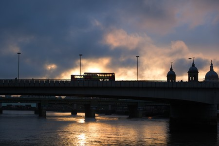 Two red double deckers buses on the bridge. London. UK. Stock Photo - 7406706