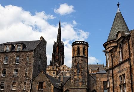 Historic buildings in Grassmarket area. Edinburgh. Scotland. UK.